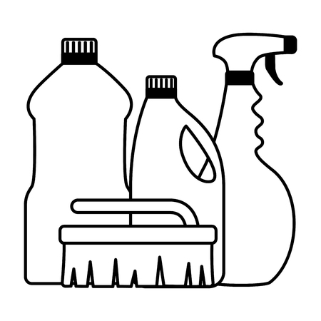 spray brush bottles spring cleaning tools vector illustration