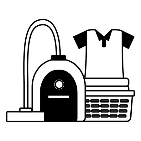 laundry vacuum spring cleaning tools vector illustration
