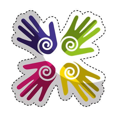 le mani stampano la vernice intorno al disegno dell'illustrazione vettoriale