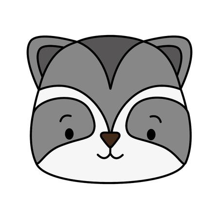 cute raccoon face cartoon vector illustration design Illustration