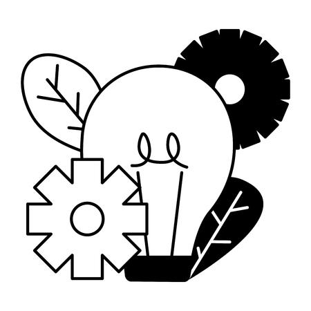 light bulb gears work strategy vector illustration