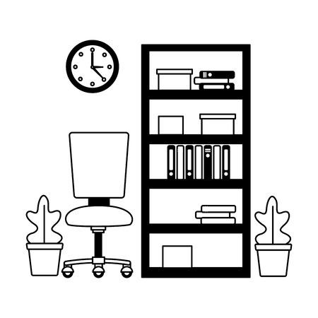 office bookshelf chair furniture workplace vector illustration Stock fotó - 122509252