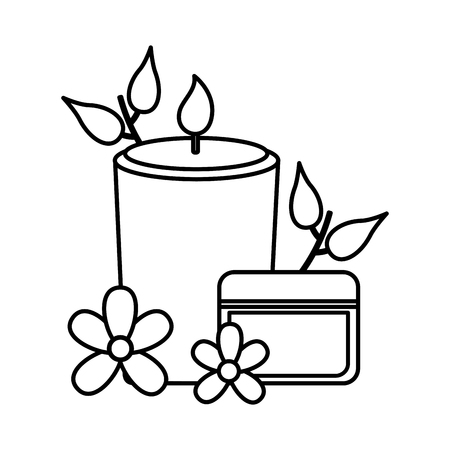 skin cream candle flowers spa treatment therapy vector illustration Illustration