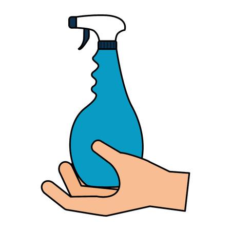 hand holding spray spring cleaning tool vector illustration Standard-Bild - 122509308