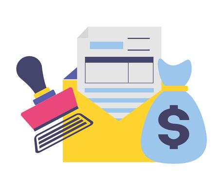 Documento de pago de impuestos factura de bolsa mney sello pagado ilustración vectorial