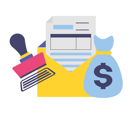 documento di pagamento delle tasse mney bag fattura bollo pagato illustrazione vettoriale