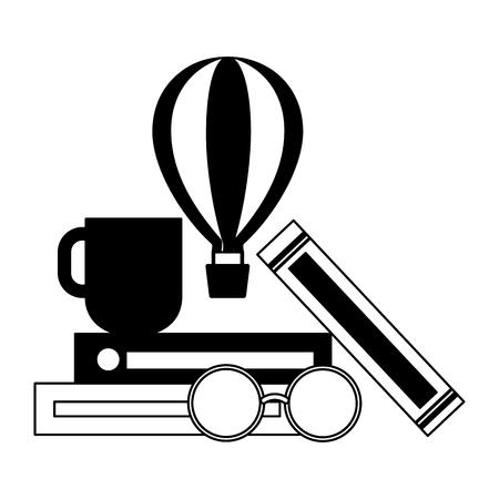 world book books coffee cup and eyeglasses vector illustration Иллюстрация
