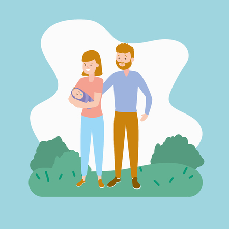 mom dad and baby family vector illustration Illustration