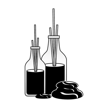 Palos de aromaterapia piedras ilustración de vector de tratamiento de terapia de spa