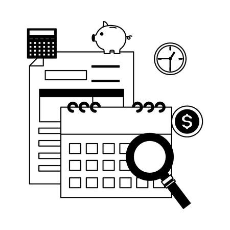 tax payment document calendar clock money magnifier vector illustration
