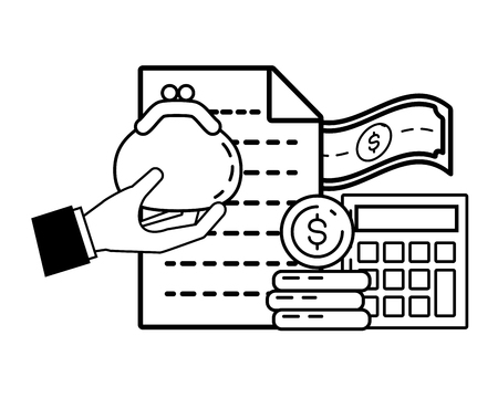 hand with purse money calculator online payment vector illustration Stock Illustratie