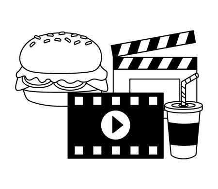 cinema burger soda clapboard fast food vector illustration design Banque d'images - 122509378