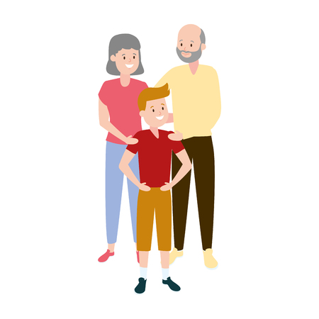 grandparents and grandson family vector illustration design 스톡 콘텐츠 - 122509380