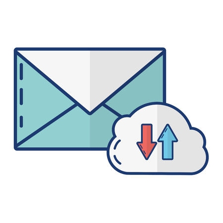 cloud computing data email download upload vector illustration