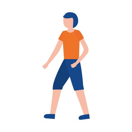 young man training sport activity vector illustration Illustration