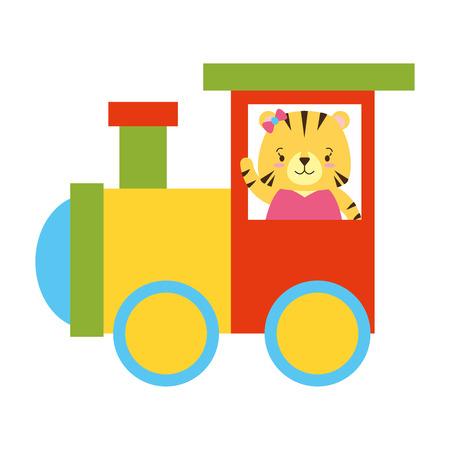cute tiger train wagon toy design vector illustration Zdjęcie Seryjne - 122509401