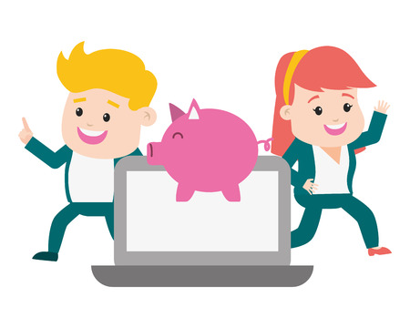 people laptop piggy bank online payment vector illustration Illustration