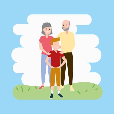 grandparents and grandson family vector illustration design Stock fotó - 122509418