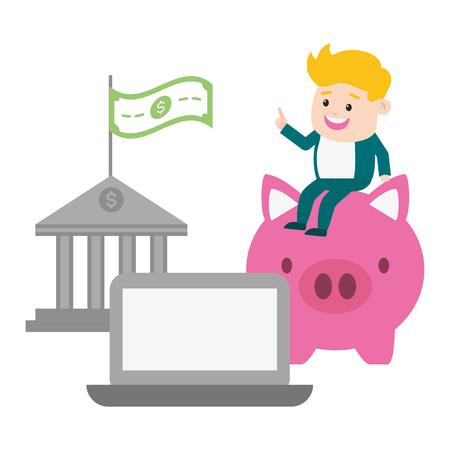 businessman laptop piggy and bank money online payment vector illustration Standard-Bild - 122509422