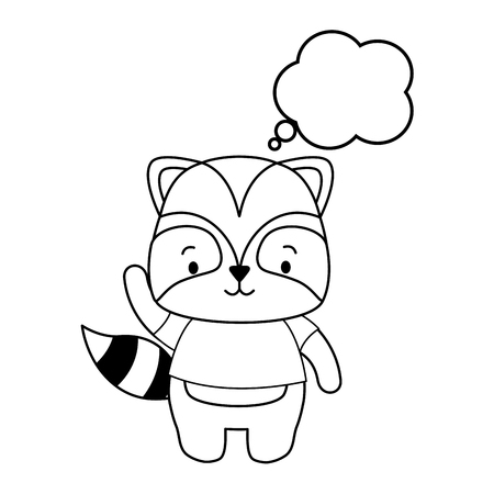 cute raccoon cartoon speech bubble vector illustration design