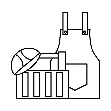 apron and helmet box construction tool vector illustration Ilustracja