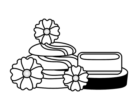 stones and soap flowers spa treatment therapy vector illustration
