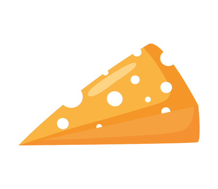 slice cheese fresh on white background vector illustration