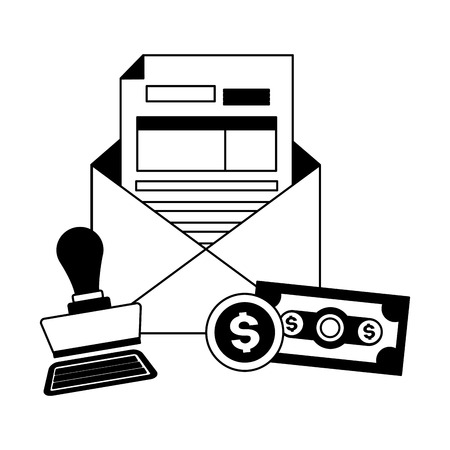 tax payment document invoice paid stamp money vector illustration