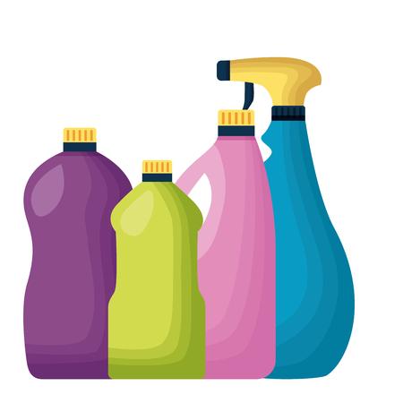 botltes spray spring cleaning tools vector illustration Illustration