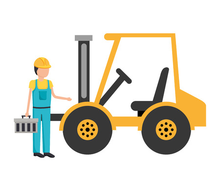 worker construction toolbox and forklift truck vector illustration Фото со стока - 122509488