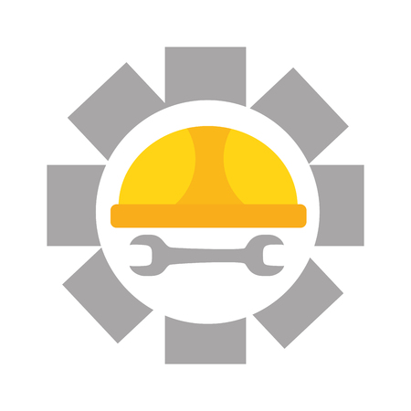 Helmschlüssel Zahnrad glücklich Tag der Arbeit Vektor-Illustration