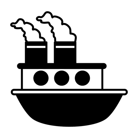 boat sea transport cartoon vector illustration design