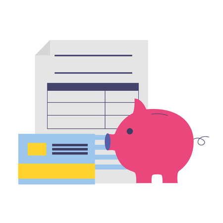 tax payment document piggy bank credit card vector illustration Illustration