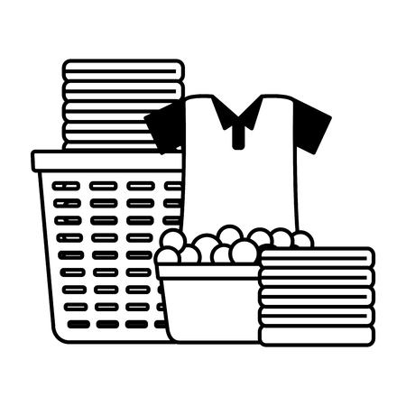laundry basket bucket spring cleaning tools vector illustration Standard-Bild - 122509517