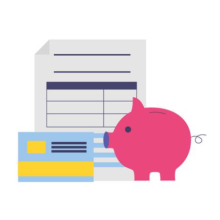 tax payment document piggy bank credit card vector illustration Illusztráció
