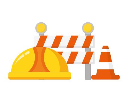 hardhat barrier cone traffic construction tool vector illustration Illustration