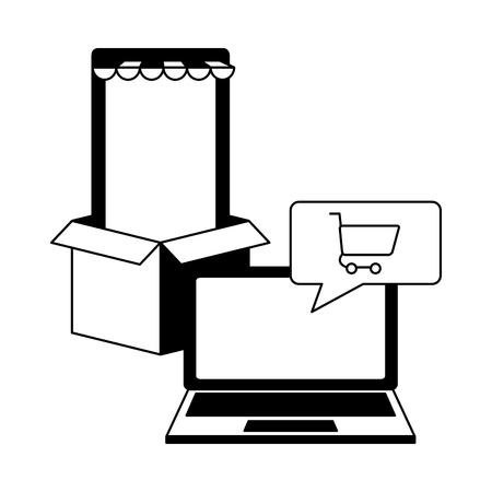 online shopping laptop phone delivery box vector illustration