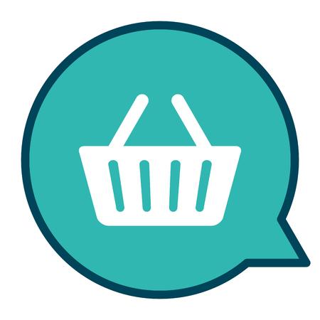 speech bubble with shopping basket vector illustration design