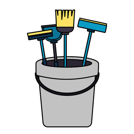 bucket broom mop sponge brush spring cleaning tools vector illustration