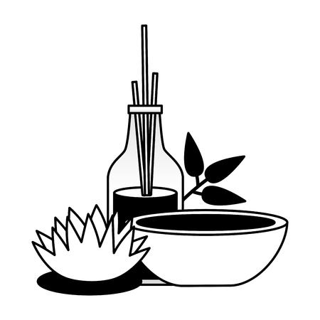 Bâtons d'aromathérapie mortier traitement spa fleur thérapie vector illustration