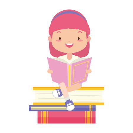 girl sitting books stacked world book day vector illustration 向量圖像
