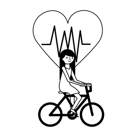 young woman riding bike heartbeat health vector illustration