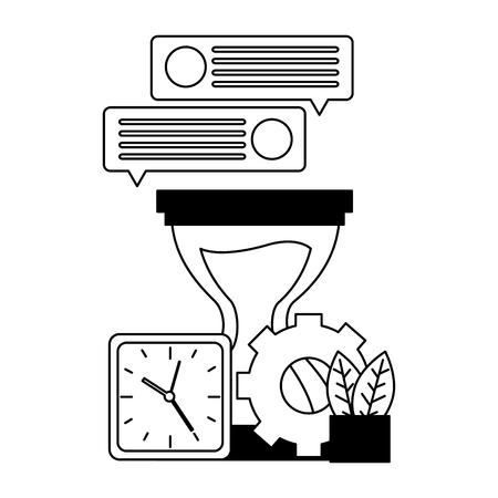 hourglass clock gear message work vector illustration Illustration