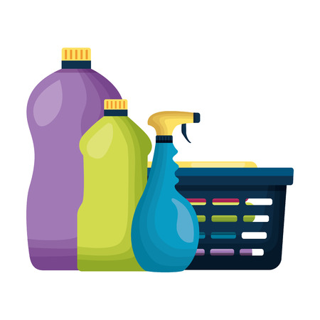 laundry basket bottles spring cleaning tools vector illustration