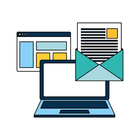 laptop email message website letter vector illustration Ilustración de vector