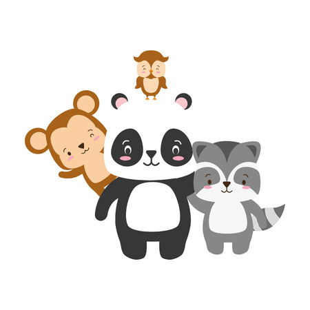 cute panda raccoon money owl cartoon vector illustration Illustration