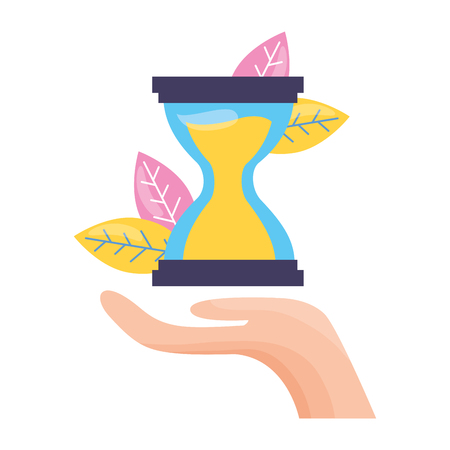 hand holding hourglasses on white background vector illustration