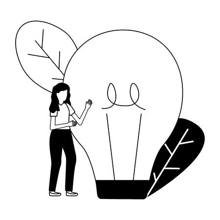 business woman with bulb creativity vector illustration