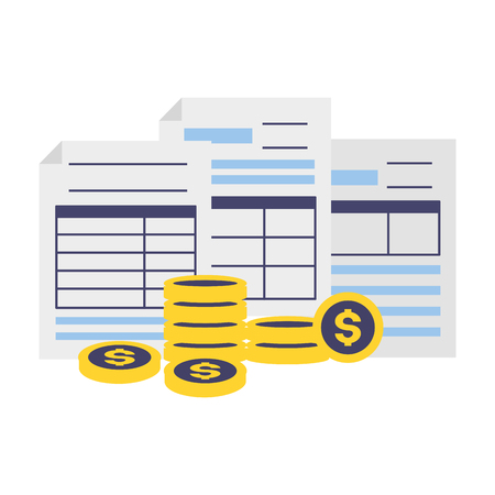 forms and coins stacked tax time payment vector illustration