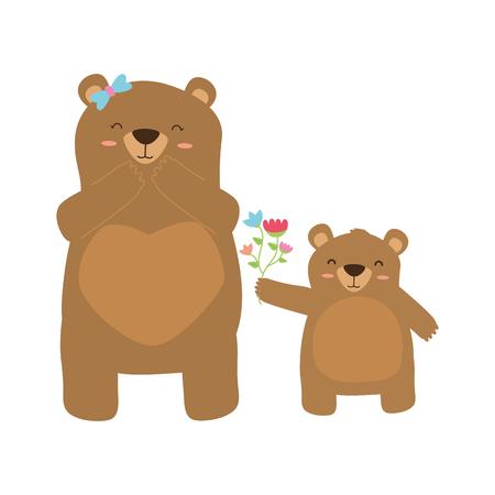 baby bear giving flowers mom vector illustration 向量圖像